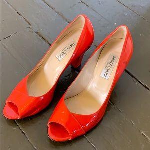 Jimmy Choo Patent Leather Open Toe Heels